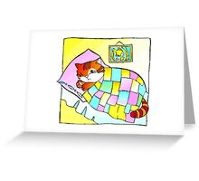 Cat In Bed Greeting Card
