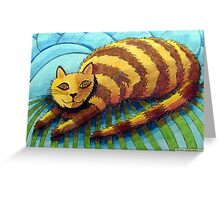 413 - STRIPEY CAT - DAVE EDWARDS - COLOURED PENCILS - 2014 Greeting Card