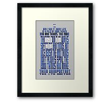 TARDIS Quote: The 11th Doctor Framed Print