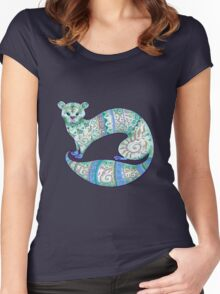 fuzzy ferret in greens Women's Fitted Scoop T-Shirt