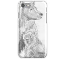 Grizzly Bear and Cub Drawing iPhone Case/Skin