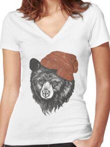 zissou the bear Women's Fitted V-Neck T-Shirt