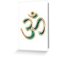 OM, gold jewelry design with diamonds and malachite Greeting Card
