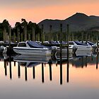 Derwent Water Boats at Sunset by Jonnyfez