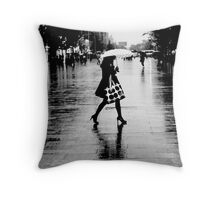 Rainy street, B&W Throw Pillow