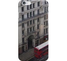 London Skyline in Winter - London Street and Red Bus iPhone Case/Skin