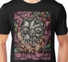 Skull and burning hand Unisex T-Shirt