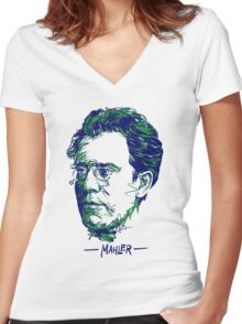 Gustav Mahler Women's Fitted V-Neck T-Shirt
