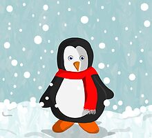 Penguin in the snow by Prettyinpinks