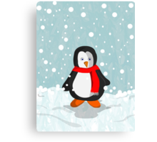 Penguin in the snow Canvas Print