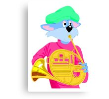 Cat Playing French Horn Canvas Print