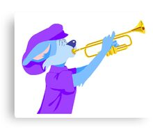 Cat Playing Trumpet Canvas Print