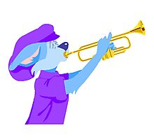 Cat Playing Trumpet Photographic Print