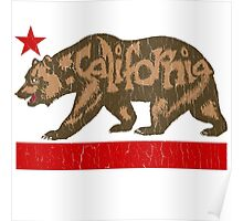 Fuzzy California Bear (vintage distressed look) Poster
