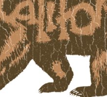 Fuzzy California Bear (vintage distressed look) Sticker
