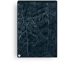 Woodland ferns acrylic plate etching, white ink on black paper Canvas Print