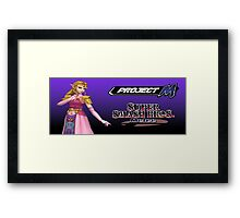 Zelda with Melee and Project M logos Framed Print