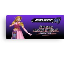 Zelda with Melee and Project M logos Canvas Print