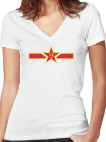 Roundel of the People's Liberation Army Air Force  Women's Fitted V-Neck T-Shirt