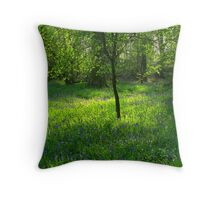 Dorset Bluebell wood Throw Pillow