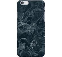 Woodland stones acrylic plate etching, white ink on black paper iPhone Case/Skin