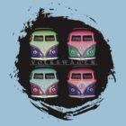 Pop Kombi Splat VW T-shirt by KellieBee