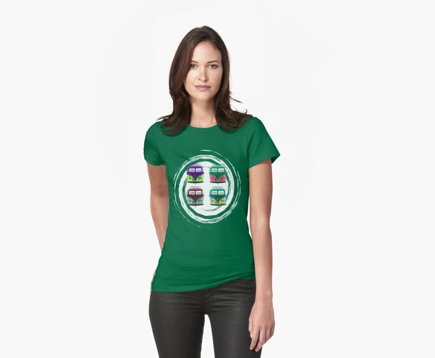 Pop Kombi VW Swirl T-shirt by KellieBee