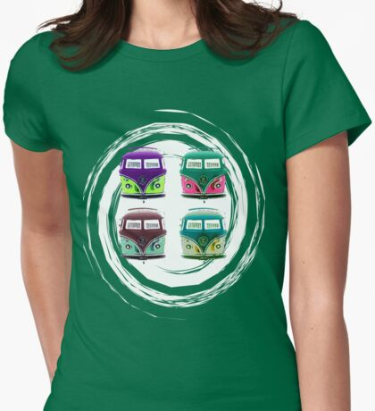 Pop Kombi VW Swirl T-shirt Womens Fitted T-Shirt