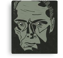 Lionel Atwell as Moriarty from Doctor Who, linocut Canvas Print