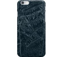 Woodland ferns acrylic plate etching, white ink on black paper iPhone Case/Skin