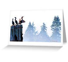 Cormorants on a foggy morning. Greeting Card
