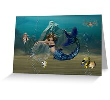 Bubble playground .. mermaid and friends Greeting Card