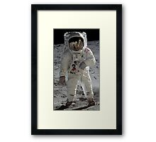 Apollo 11 A7L space suit worn by BUZZ ALDRIN. Aldrin standing on moon. Neil Armstrong and Eagle reflected in his visor, 20 July 1969. by NASA Framed Print