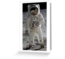 Apollo 11 A7L space suit worn by BUZZ ALDRIN. Aldrin standing on moon. Neil Armstrong and Eagle reflected in his visor, 20 July 1969. by NASA Greeting Card