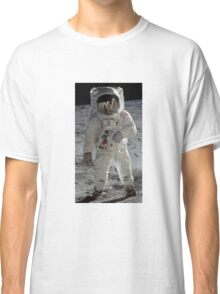 Apollo 11 A7L space suit worn by BUZZ ALDRIN. Aldrin standing on moon. Neil Armstrong and Eagle reflected in his visor, 20 July 1969. by NASA Classic T-Shirt