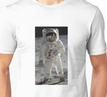 Apollo 11 A7L space suit worn by BUZZ ALDRIN. Aldrin standing on moon. Neil Armstrong and Eagle reflected in his visor, 20 July 1969. by NASA Unisex T-Shirt