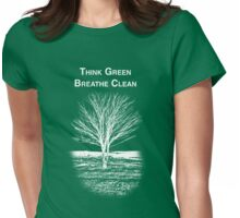 Tree Shirt (White Text/Image) Womens Fitted T-Shirt
