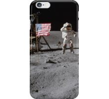 Astronaut saluting the American flag during Apollo 16  by NASA iPhone Case/Skin