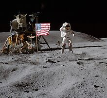Astronaut saluting the American flag during Apollo 16  by NASA by Adam Asar