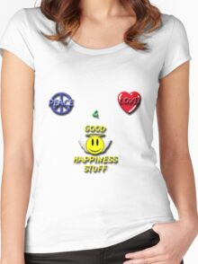Peace Love Good Happiness Stuff Women's Fitted Scoop T-Shirt