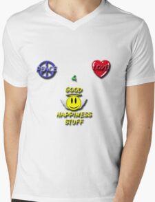 Peace Love Good Happiness Stuff Mens V-Neck T-Shirt