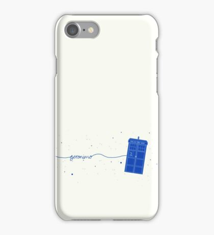 Geronimo to the TARDIS (in blue) iPhone Case/Skin