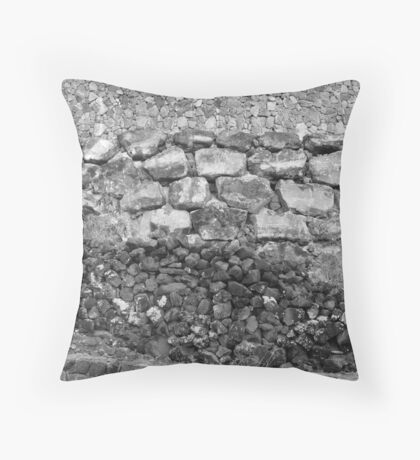 Volcanic Rock Wall Layers Black and White Throw Pillow