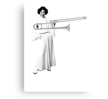 Leia with a trombone, and a smile Metal Print