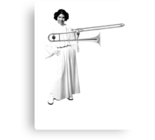 Leia with a trombone, and a smile Canvas Print