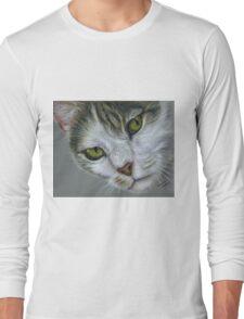 Tara - White and Tabby Cat Painting Long Sleeve T-Shirt