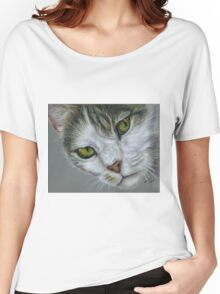 Tara - White and Tabby Cat Painting Women's Relaxed Fit T-Shirt