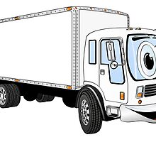 Large White Delivery Truck Cartoon by Graphxpro