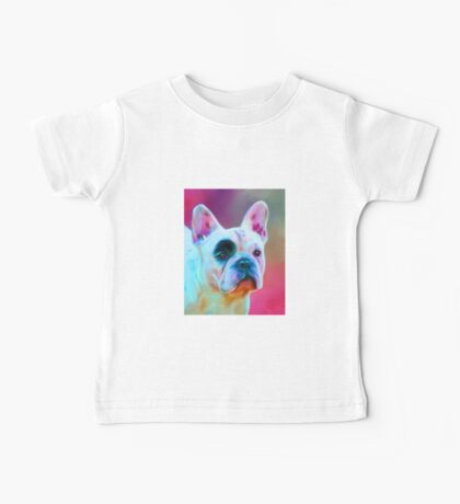 Paris French Bulldog Portrait Painting Baby Tee