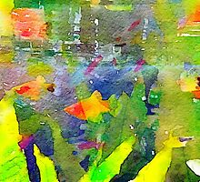 Abstract Goldfish Aquarium Watercolor 2 by Beverly Claire Kaiya